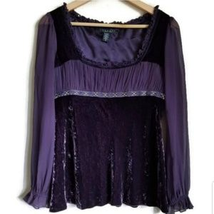 laundry shelli segal crushed velvet purple top M